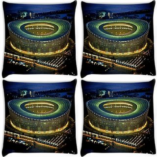 Snoogg Pack Of 4 Stadium At Night Digitally Printed Cushion Cover Pillow 8 X 8 Inch