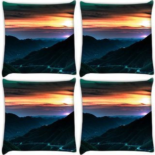 Snoogg Pack Of 4 City At Night Digitally Printed Cushion Cover Pillow 8 X 8 Inch