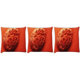 Snoogg Pack Of 3 Sand Rock Digitally Printed Cushion Cover Pillow 8 X 8 Inch