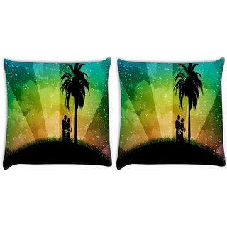 Snoogg Pack Of 2 Couple Digitally Printed Cushion Cover Pillow 8 X 8 Inch