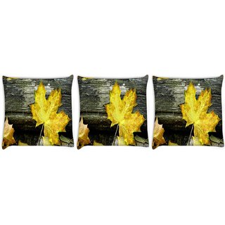 Snoogg Pack Of 3 Yellow Leaf Digitally Printed Cushion Cover Pillow 8 X 8 Inch