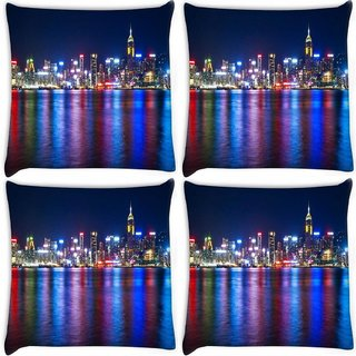 Snoogg Pack Of 4 Color Of City Digitally Printed Cushion Cover Pillow 8 X 8 Inch