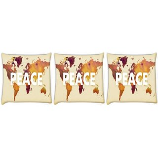 Snoogg Pack Of 3 Peace Digitally Printed Cushion Cover Pillow 8 X 8 Inch