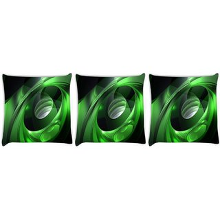Snoogg Pack Of 3 Green Tribals Digitally Printed Cushion Cover Pillow 8 X 8 Inch
