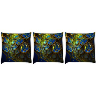 Snoogg Pack Of 3 Blue Floral Petals Digitally Printed Cushion Cover Pillow 8 X 8 Inch