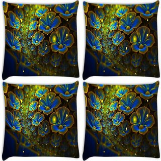 Snoogg Pack Of 4 Blue Floral Petals Digitally Printed Cushion Cover Pillow 8 X 8 Inch