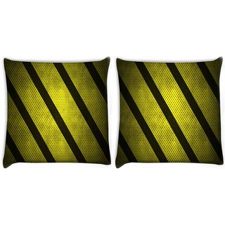Snoogg Pack Of 2 Yellow Strips Digitally Printed Cushion Cover Pillow 8 X 8 Inch