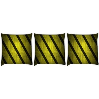 Snoogg Pack Of 3 Yellow Strips Digitally Printed Cushion Cover Pillow 8 X 8 Inch
