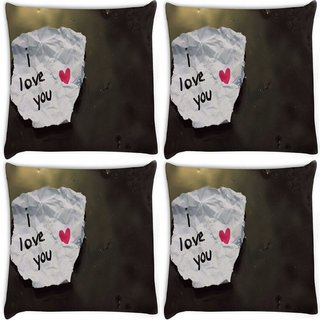 Snoogg Pack Of 4 I Love You Digitally Printed Cushion Cover Pillow 8 X 8 Inch