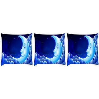 Snoogg Pack Of 3 Smiling Moon Digitally Printed Cushion Cover Pillow 8 X 8 Inch
