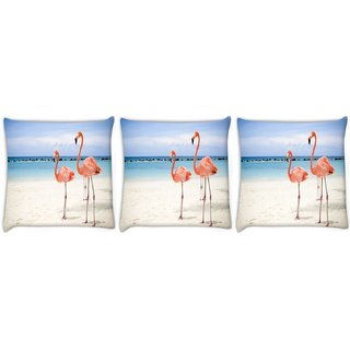 Snoogg Pack Of 3 Two Animals Digitally Printed Cushion Cover Pillow 8 X 8 Inch