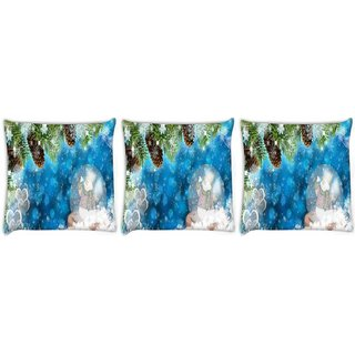 Snoogg Pack Of 3 Snowman Digitally Printed Cushion Cover Pillow 8 X 8 Inch