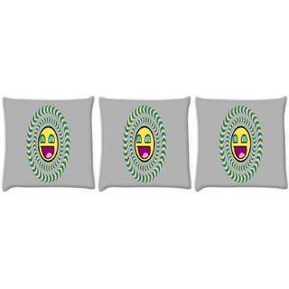 Snoogg Pack Of 3 Laughing Sun Digitally Printed Cushion Cover Pillow 8 X 8 Inch