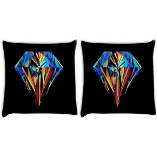 Snoogg Pack Of 2 Abstract Diamond Art Digitally Printed Cushion Cover Pillow 8 X 8 Inch