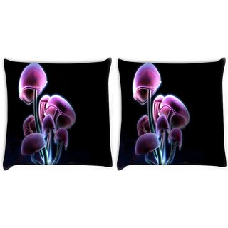 Snoogg Pack Of 2 Neon Mushroom Digitally Printed Cushion Cover Pillow 8 X 8 Inch