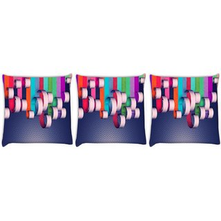 Snoogg Pack Of 3 House Paint Digitally Printed Cushion Cover Pillow 8 X 8 Inch