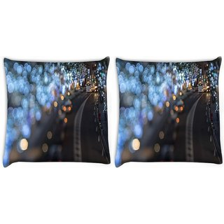 Snoogg Pack Of 2 Blurred Light Dots Digitally Printed Cushion Cover Pillow 8 X 8 Inch