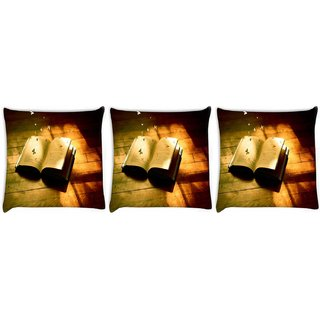 Snoogg Pack Of 3 Book Digitally Printed Cushion Cover Pillow 8 X 8 Inch