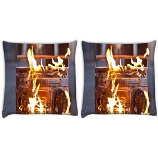 Snoogg Pack Of 2 Boombox In Fire Photography Digitally Printed Cushion Cover Pillow 8 X 8 Inch