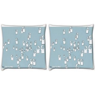 Snoogg Pack Of 2 Bop Art Pattern Digitally Printed Cushion Cover Pillow 8 X 8 Inch