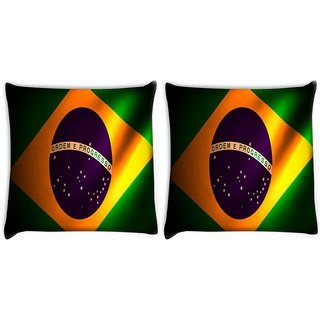 Snoogg Pack Of 2 Brazil Flag Digitally Printed Cushion Cover Pillow 8 X 8 Inch