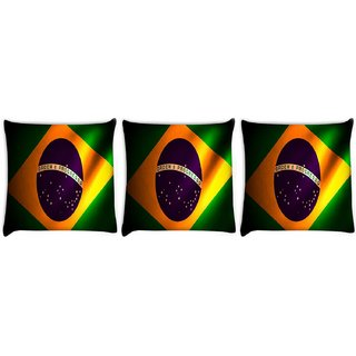 Snoogg Pack Of 3 Brazil Flag Digitally Printed Cushion Cover Pillow 8 X 8 Inch