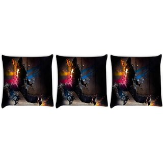 Snoogg Pack Of 3 Dance Move Digitally Printed Cushion Cover Pillow 8 X 8 Inch