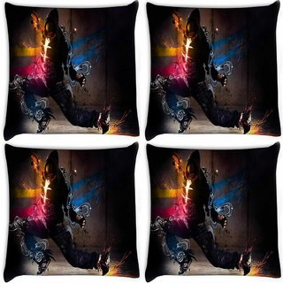Snoogg Pack Of 4 Dance Move Digitally Printed Cushion Cover Pillow 8 X 8 Inch