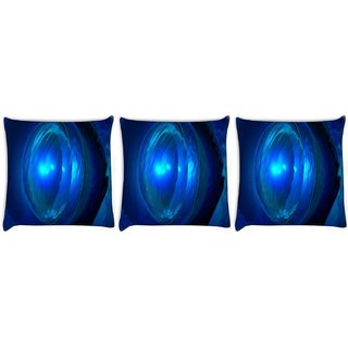 Snoogg Pack Of 3 Deep Blue Jewel Digitally Printed Cushion Cover Pillow 8 X 8 Inch