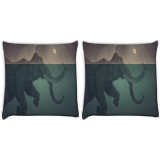Snoogg Pack Of 2 Elephant Fantasy Art Digitally Printed Cushion Cover Pillow 8 X 8 Inch