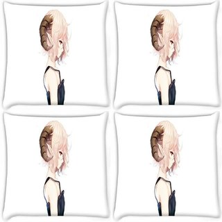 Snoogg Pack Of 4 Elf Girl With Ram Horns Digitally Printed Cushion Cover Pillow 8 X 8 Inch