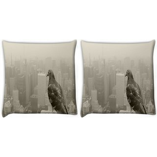 Snoogg Pack Of 2 Empire State Pigeon Digitally Printed Cushion Cover Pillow 8 X 8 Inch