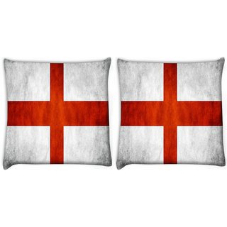 Snoogg Pack Of 2 England Flag Digitally Printed Cushion Cover Pillow 8 X 8 Inch