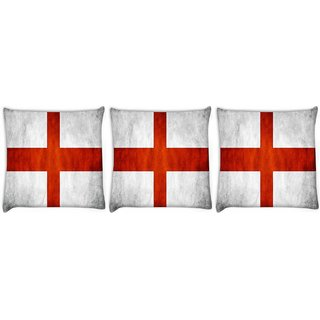Snoogg Pack Of 3 England Flag Digitally Printed Cushion Cover Pillow 8 X 8 Inch