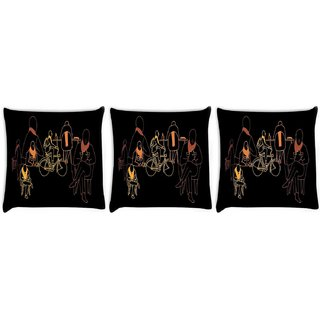 Snoogg Pack Of 3 Eric Ellis Digitally Printed Cushion Cover Pillow 8 X 8 Inch