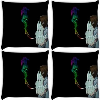 Snoogg Pack Of 4 Girls Headphones Digitally Printed Cushion Cover Pillow 8 X 8 Inch