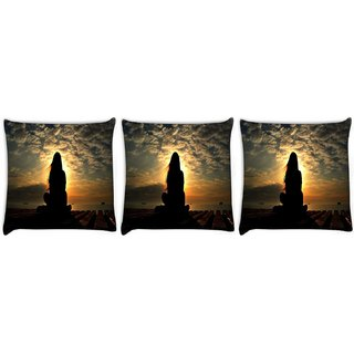 Snoogg Pack Of 3 Girl Silhouette In The Sunset Light Digitally Printed Cushion Cover Pillow 8 X 8 Inch