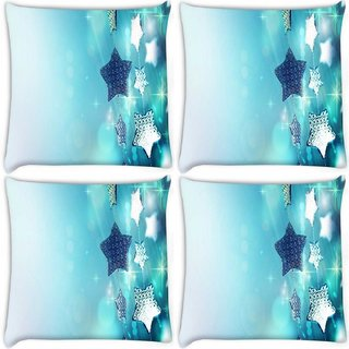 Snoogg Pack Of 4 Glitter Garland Blue Christmas Ornaments Digitally Printed Cushion Cover Pillow 8 X 8 Inch