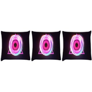 Snoogg Pack Of 3 Glowing Eye In A Pink Triangle Digitally Printed Cushion Cover Pillow 8 X 8 Inch