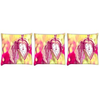 Snoogg Pack Of 3 Medalion Watch Digitally Printed Cushion Cover Pillow 8 X 8 Inch