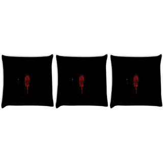 Snoogg Pack Of 3 Finger Print Digitally Printed Cushion Cover Pillow 8 X 8 Inch