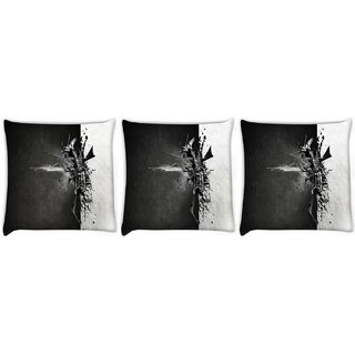 Snoogg Pack Of 3 Black And Grey Paint Digitally Printed Cushion Cover Pillow 8 X 8 Inch