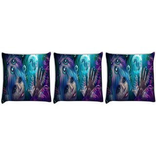 Snoogg Pack Of 3 Mermaid Fantasy Digitally Printed Cushion Cover Pillow 8 X 8 Inch