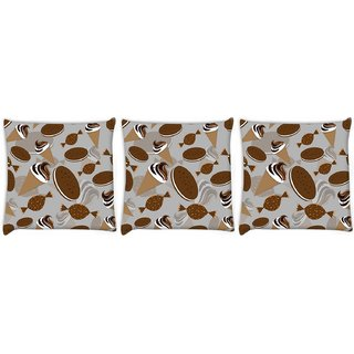 Snoogg Pack Of 3 Pattern White In Blue Digitally Printed Cushion Cover Pillow 14 x 14 Inch