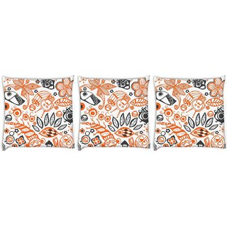 Snoogg Pack Of 3 Green Pattern Design Digitally Printed Cushion Cover Pillow 14 x 14 Inch