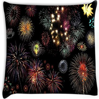 Snoogg  colorful fireworks Digitally Printed Cushion Cover Pillow 14 x 14 Inch