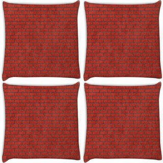 Snoogg Pack Of 4 Red Bricks Digitally Printed Cushion Cover Pillow 8 X 8 Inch