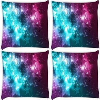 Snoogg Pack Of 4 Shiney Stars Digitally Printed Cushion Cover Pillow 8 X 8 Inch