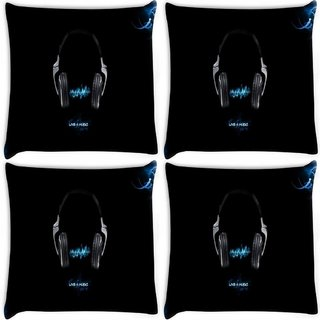 Snoogg Pack Of 4 Live For Music Digitally Printed Cushion Cover Pillow 8 X 8 Inch