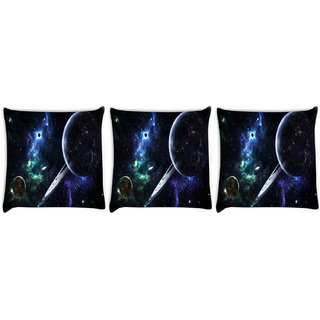 Snoogg Pack Of 3 Solar Rays Digitally Printed Cushion Cover Pillow 8 X 8 Inch